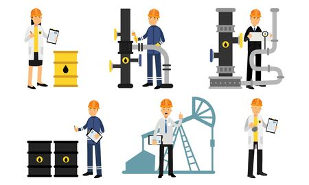 Production life cycle of oil. Extraction, production, refinery and transportation oil and petrol. Man inspecting or repairing an oil pipeline with documents
