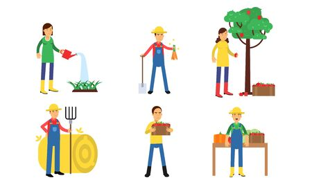 Characters Of Men And Women Are Working On A Farm Or In A Vegetable Garden In Agricultural Concept Illustration Set  イラスト・ベクター素材