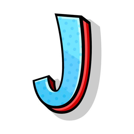 Isometric blue and red capital letter J in comic style from alphabet. Playful and modern font, for any design works. Vector illustration, isolated on white background. Иллюстрация