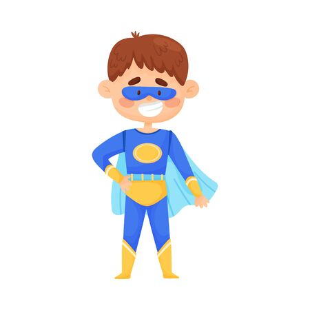Little boy in blue superman costume, cloak and mask. Yellow ellipse on the chest with free space for any letters. Children cosplay party. Vector illustration, isolated on white background. Ilustração