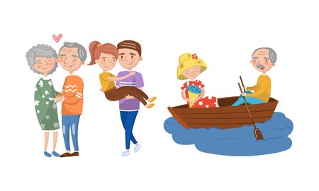Couples of lovers men and women of different ages. Vector illustration.