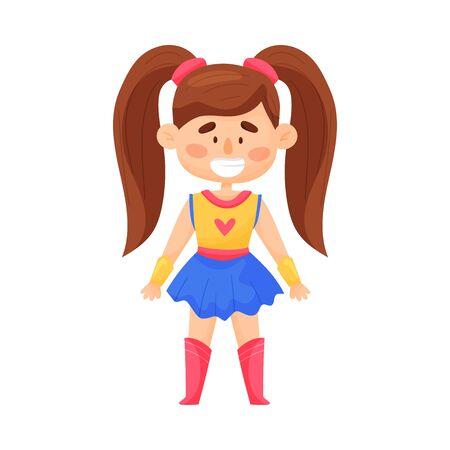Bambina In vestito da Superwoman con due code di cavallo illustrazione vettoriale Cartoon Character