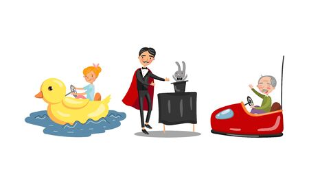 Magician and different rides. Vector illustration on a white background.