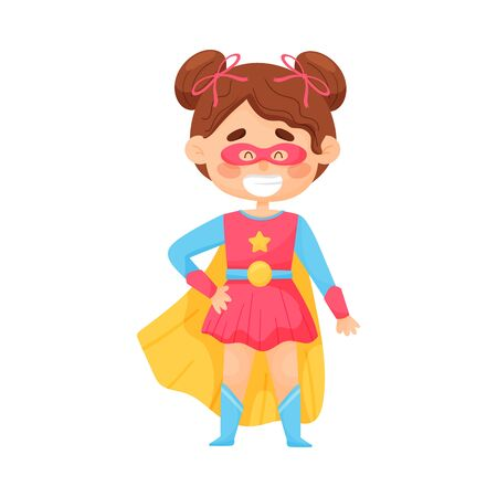 Little Girl In Superwoman Suit And Red Mask Vector Illustration