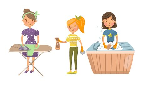 Young women ironing clothes and washing dishes. Vector illustration.