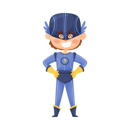 Little boy in comic superhero lilac costume and cap with wings. Lightning logo on the chest. Chidlren cosplay concept. Vector illustration, cartoon character, isolated on white background.