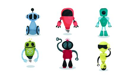 Set of colored robots. Vector illustration on a white background.