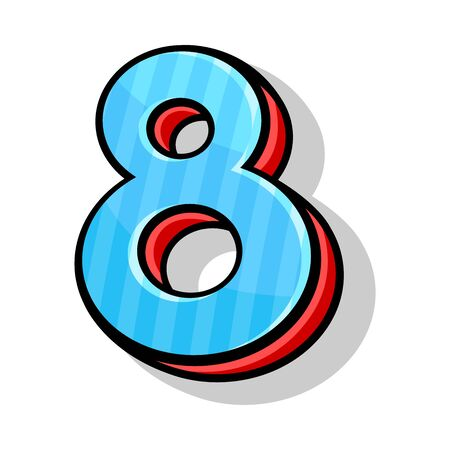 Number eight, blue and red, isometric, playful in cartoon style. The element of modern font for any design or typographic works. Vector illustration, isolated on white background. Ilustração