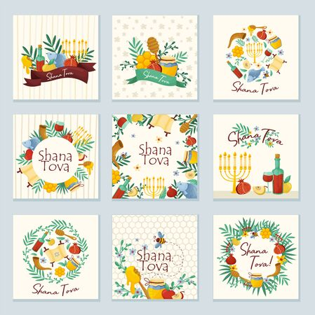 Shana Tova Jewish Holiday Concept Vector Illustrations Set