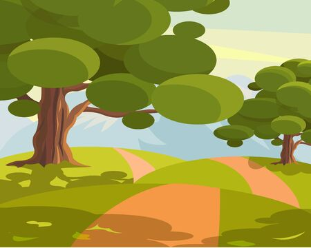 Footpath in a meadow with trees. Vector illustration. Ilustrace