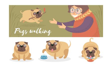 Cute pug carries a stick to a woman. Vector illustration. Standard-Bild - 133335169