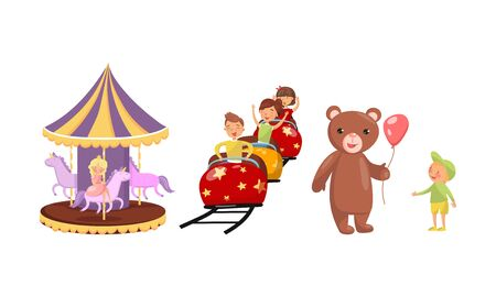 Set of situations from an amusement park. Vector illustration.
