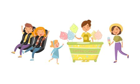 Adults and children relax in the amusement park. Vector illustration.