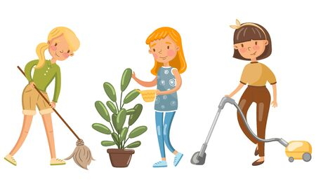 Young women mopping the floor, watering a houseplant and vacuuming. Vector illustration.