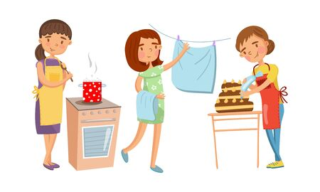 Young women cook soup, remove dry clothes from a rope and decorate a cream cake. Vector illustration.