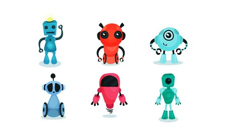 Set of colored robots of different types. Vector illustration.