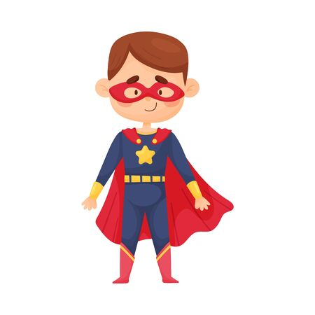 Little boy in blue superhero costume and red cloak and mask. Star logo on the chest. Children cosplay concept. Vector illustration, cartoon character, isolated on white background.