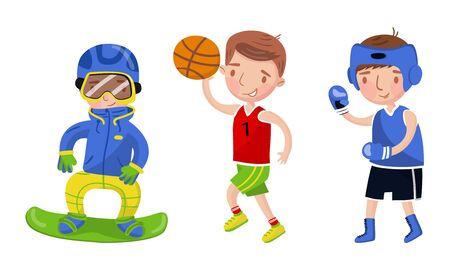 Boys athletes in uniform. Vector illustration on a white background.