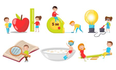 The Little People Living in the World of Big Things Vector Illustrations Set. Boy Reading Book With Loupe, Girl Turning the Light On, Kids Bulding Something With Bricks Concept