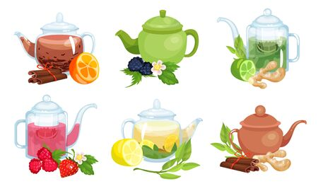 Different Types of Tea Poured in Various Teapots Made of Different Materials Vector Set