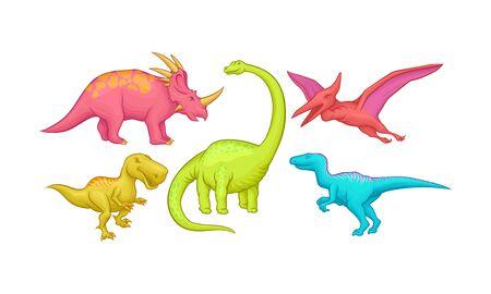 Jurassic Reptiles Vector Set Isolated On White Background Çizim