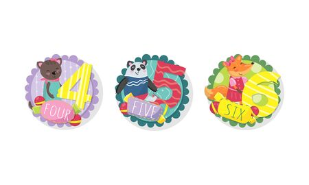 Kids Anniversary Numbers Vector Labels Set. Cute Birthday Templates