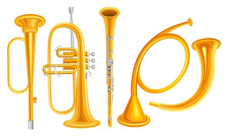 Wind Copper Musical Instruments Vector Set Isolated On White Background Detailed Collection