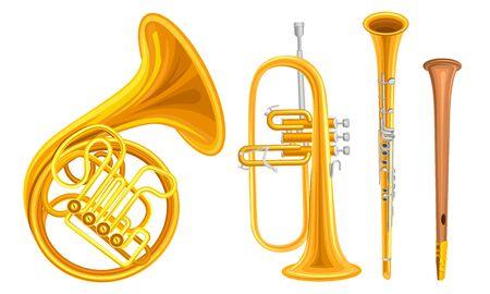 Insieme di vettore di strumenti musicali in rame a fiato isolato su sfondo bianco Collezione dettagliata Vettoriali
