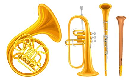 Wind Copper Musical Instruments Vector Set Isolated On White Background Detailed Collection 矢量图片