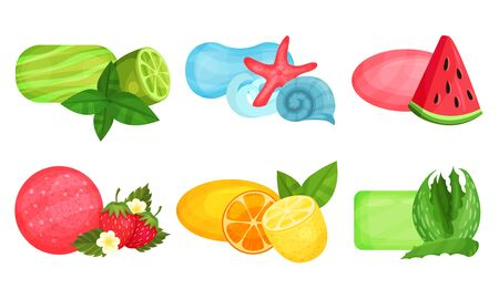 Different Bars of Soap With Various Aromas Vector Set 向量圖像