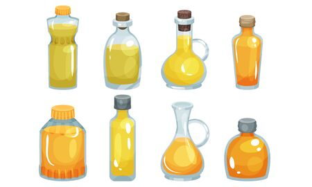 Vegetarian Oil Bottles Vector Set. Different Glassware With Raw Edible Liquid. Natural Organic Virgin Nutrition Concept