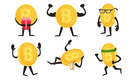 Golden Coins Characters With Bitcoin Sign in Different Actions Vector Set