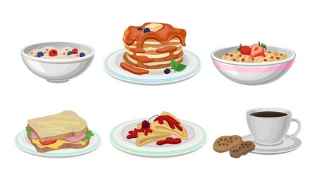 Breakfast Food Vector Set. Meals Collection With Tasty Pancakes and Berry Porridge. Classical Morning Nutrition Concept Иллюстрация
