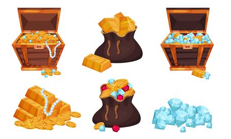 Piratic Chests and Sack With Treasures Vector Set