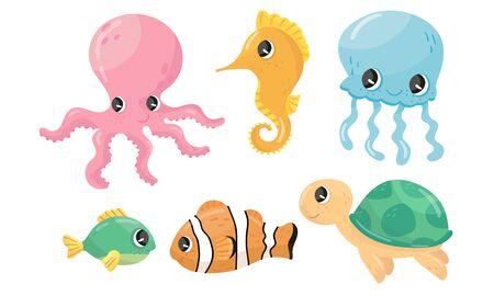 Funny Sea Animal Characters Vector Set. Underwater Life Concept