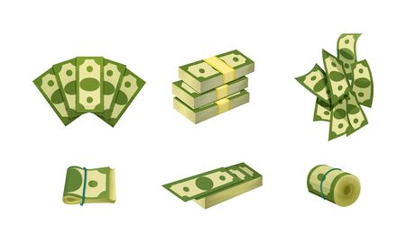 Bundle of Banknotes Rolled and in Stacks Vector Set