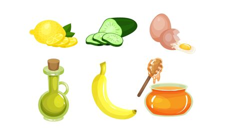 Healthy Food Ingredients Vector Set. Natural Detox Eating Colorful Collection Çizim