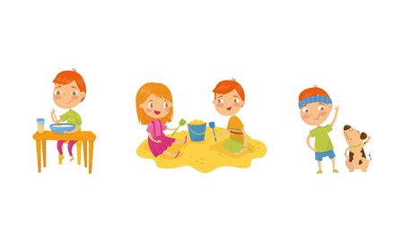 Little Boy Character Doing Different Activities Throughout the Day Vector Illustrations Set