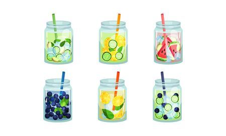Fruit and Vegetable Cold Fresh Beverages Poured in Glass Jars With Straw Vector Set