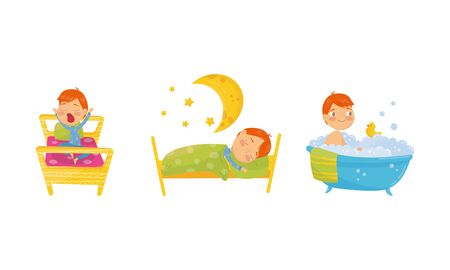 Kids Daily Routine Vector Illustrations Set. Boy Character Getting Up In the Morning