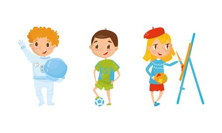 Kid Characters Set Engaging in Different Occupations Vector Set. Girl Artist Drawing Using Easel, Boy Astronaut Holding Helmet, Boy Football Player Standing on Ball Concept Vetores