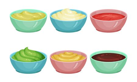 Different Sauces Vector Set. Spicy Treatment In Bowls Ilustração
