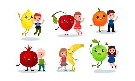 Children with huge humanized vegetables and fruits. Vector illustration. Ilustração