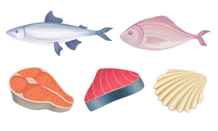 Seafood Vector Set. Crustacean Delicacy Market Concept. Raw Underwater Objects For Cooking Purposes