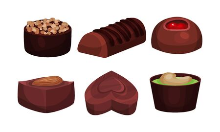 All Sorts Sweets Vector Set. Chocolate Desserts With Mixed Flavours Concept. Assortment From Box of Chocolate Sweets Collection Illustration