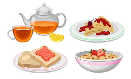 Breakfast Food Vector Set. Meals Collection With Tasty Pancakes and Berry Porridge. Classical Morning Nutrition Concept Ilustração