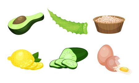 Healthy Food Ingredients Vector Set. Natural Detox Eating Colorful Collection. Oragnic Raw Food