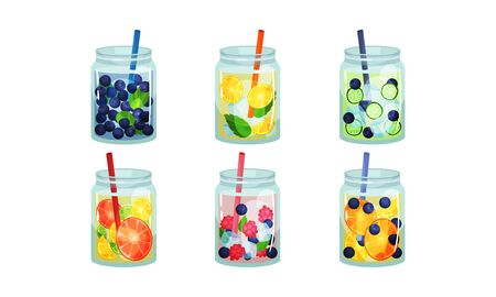 Fruit and Vegetable Cold Fresh Beverages Poured in Glass Jars With Straw Vector Set. Healthy Detox Cocktails Concept. Restaurant and Cafe Menu Elements Çizim