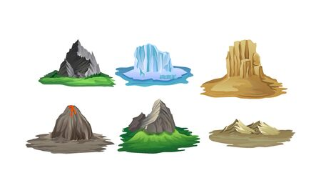 Islands With Different Landscapes Vector Illustration Set. Game Vector Scenery Concepts