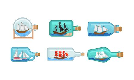 Ship Models In Miniature in Glass Bottles Vector Set 向量圖像